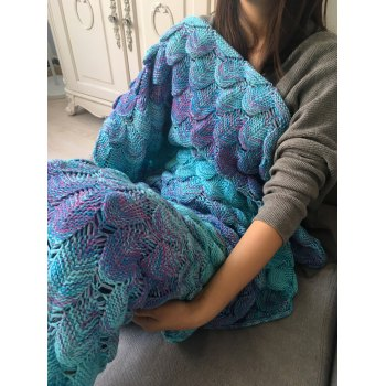 Ombre Crochet Fish Scale Wrap Mermaid Blanket - COLORMIX