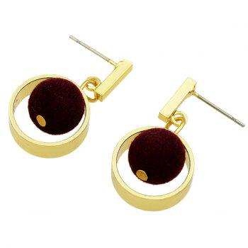 Small Pom Hollow Out Circle Pendant Earrings - WINE RED