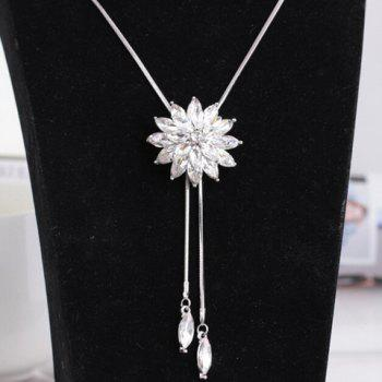 Adjustable Faux Gem Floral Sweater Chain - WHITE