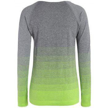 Ombre Long Sleeve Running Gym Top With Thumb Hole - NEON GREEN L