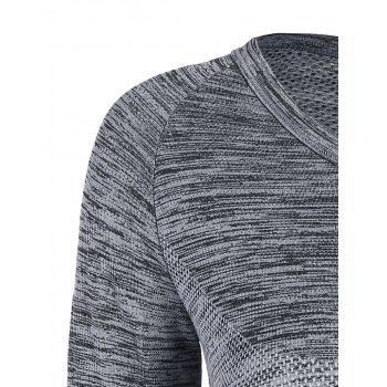 Heathered Thumbhole Long Sleeve Gym Top - GRAY L