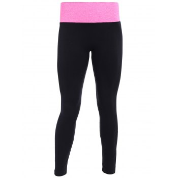 Tight Fit Sports Running Leggings - BLACK AND ROSE RED BLACK/ROSE RED