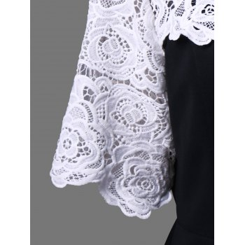 Plus Size Lace Insert Peplum Top - WHITE/BLACK 3XL