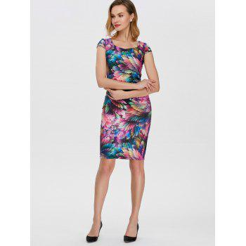 Square Neck Feather Printed Dress - COLORFUL S