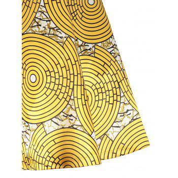 Vintage Printed Surplice Flare Dress - YELLOW L