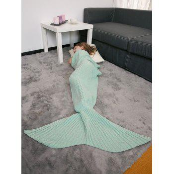 Comfortable Crochet Knitting Mermaid Tail Style Blanket For Kids - MINT GREEN