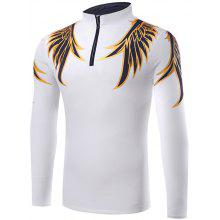 Half Zip Up Wing Print T-Shirt
