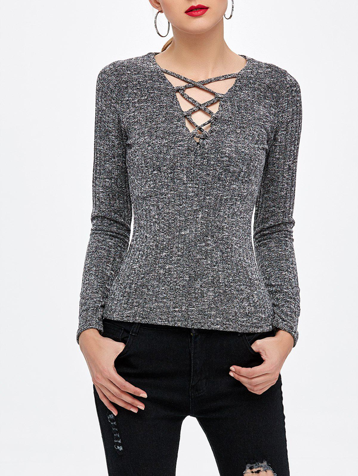 Lace Up Knitted Top - DEEP GRAY M