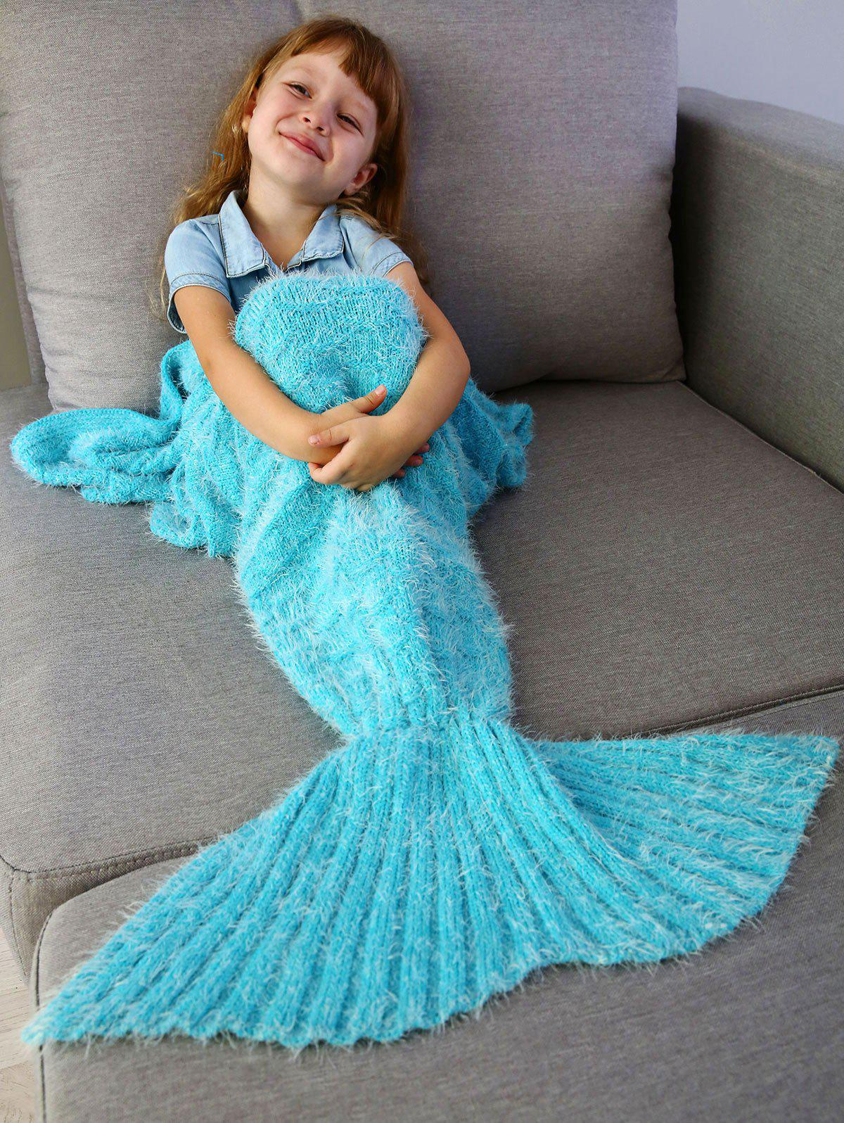 Crochet Knitted Faux Mohair Mermaid Blanket Throw For Kids ...