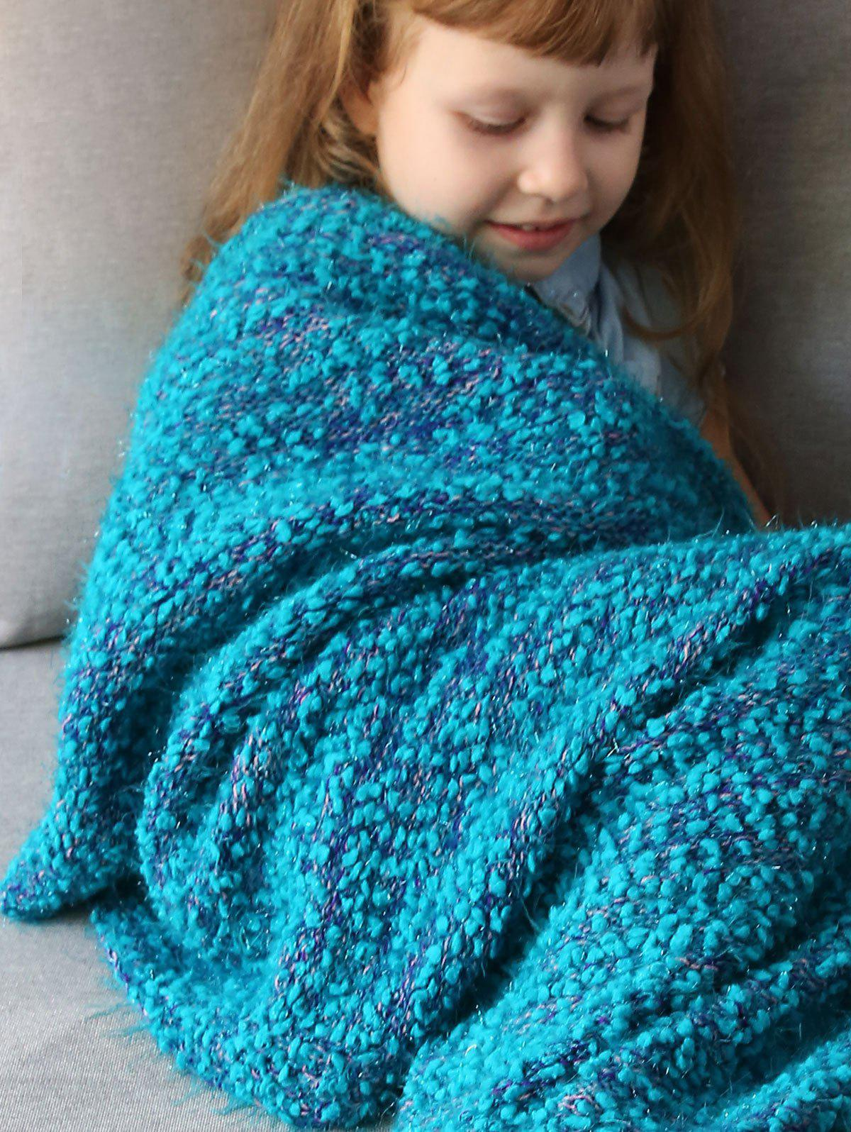 Imitation Shearling Crochet Knitted Mermaid Blanket Throw For Kids - OASIS