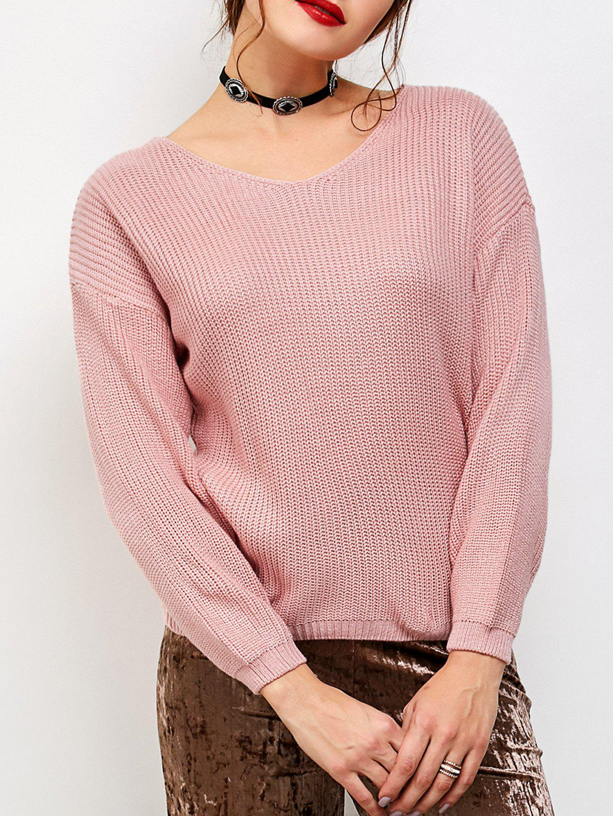 Lace-Up Chunky Knit Sweater - PINK ONE SIZE