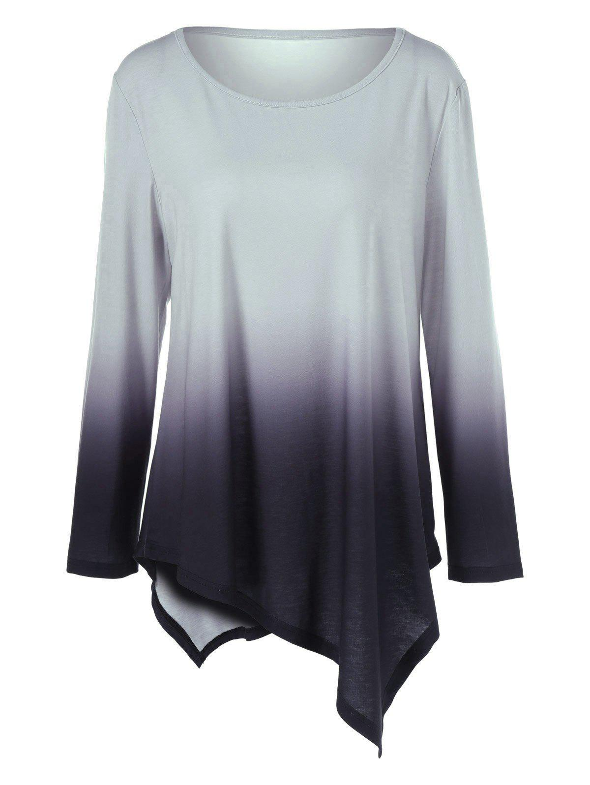 Plus Size Ombre Asymmetrical T-Shirt - BLACK/GREY 2XL