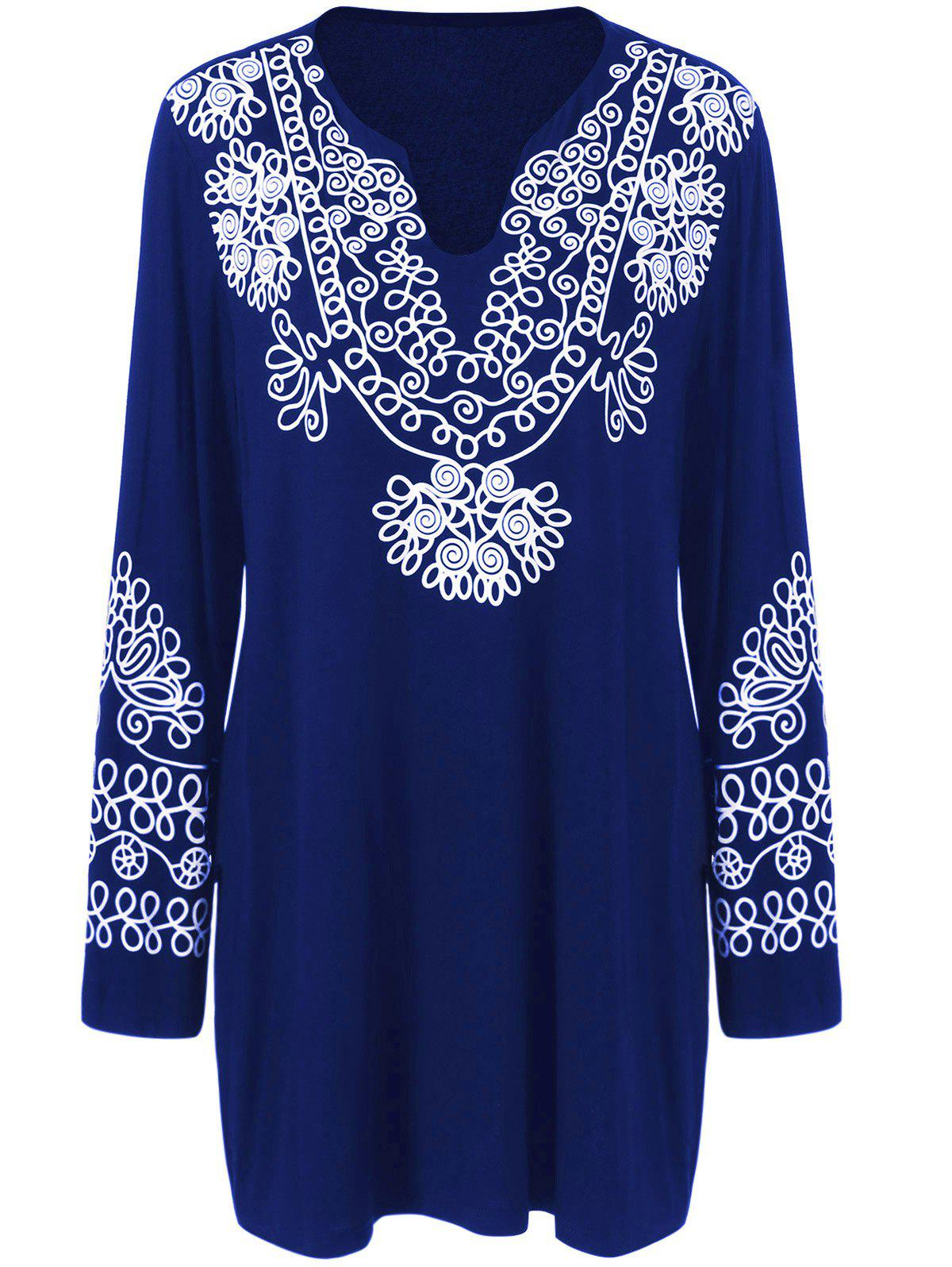 Plus Size Printed Longline Tee - DEEP BLUE XL