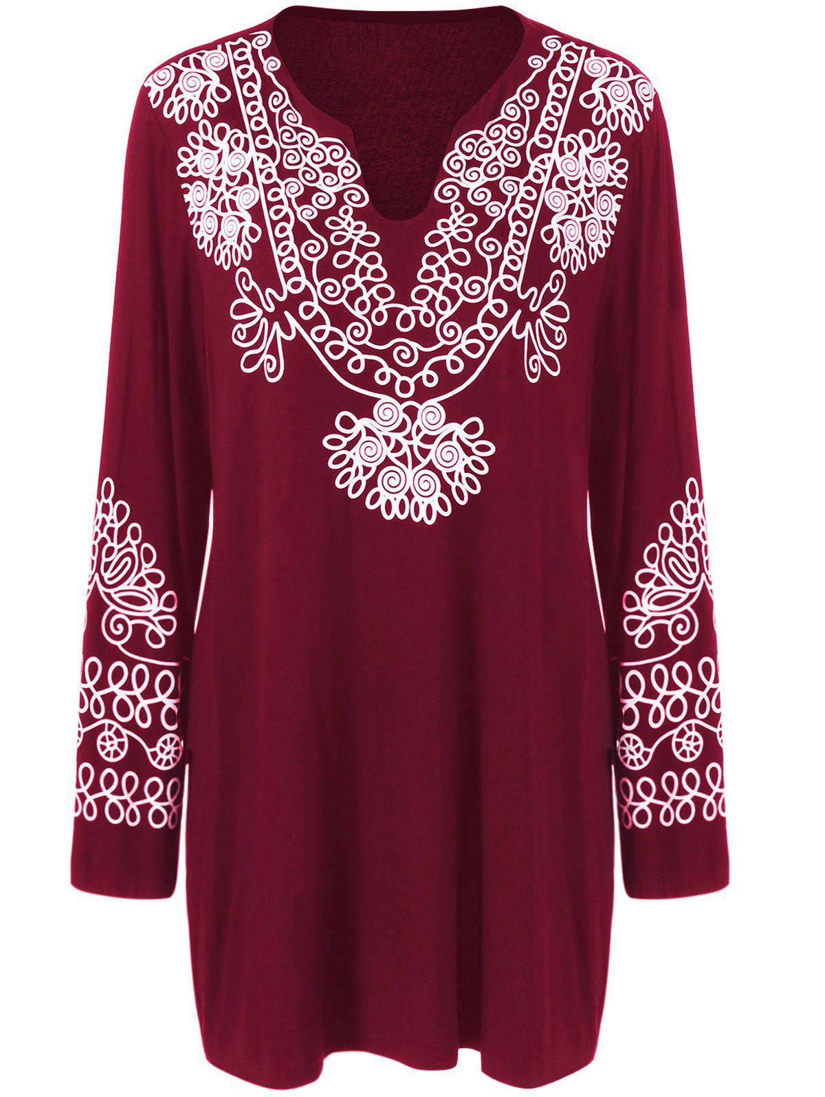 Plus Size Printed Longline Tee - BURGUNDY 5XL