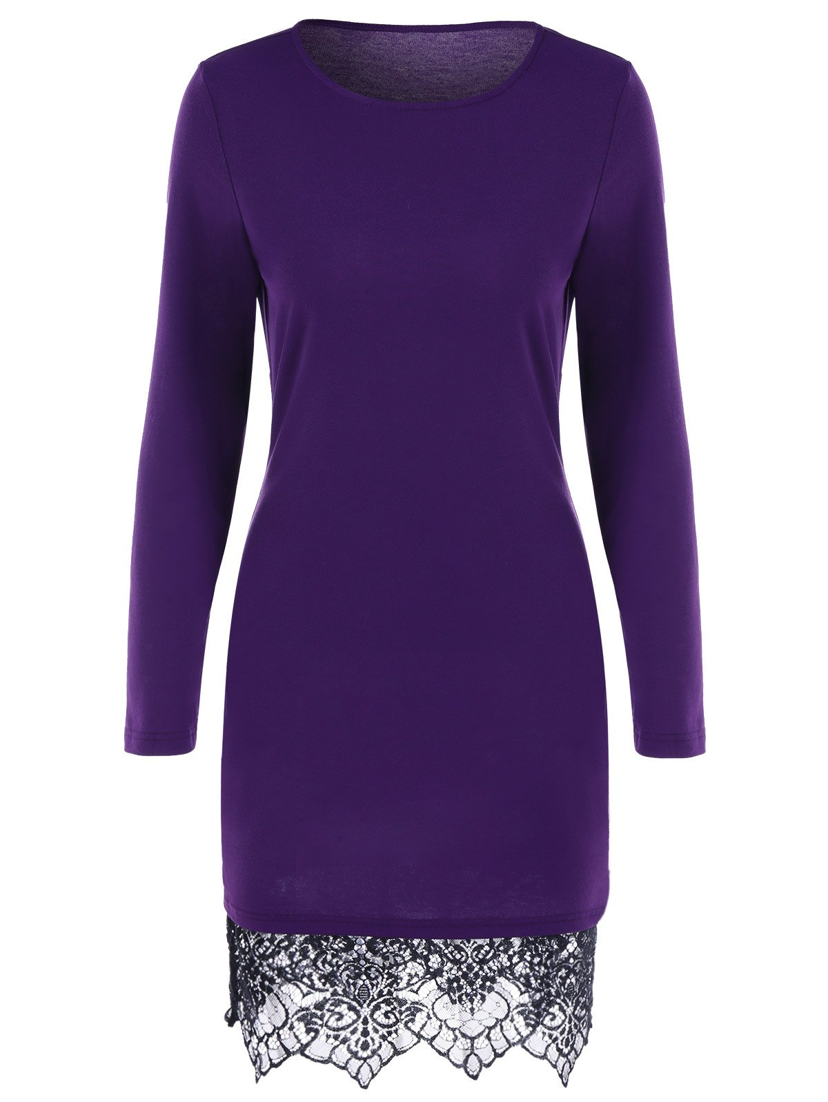 Lace Trim Long Sleeve Fitted DressWomen<br><br><br>Size: M<br>Color: BLACK AND PURPLE