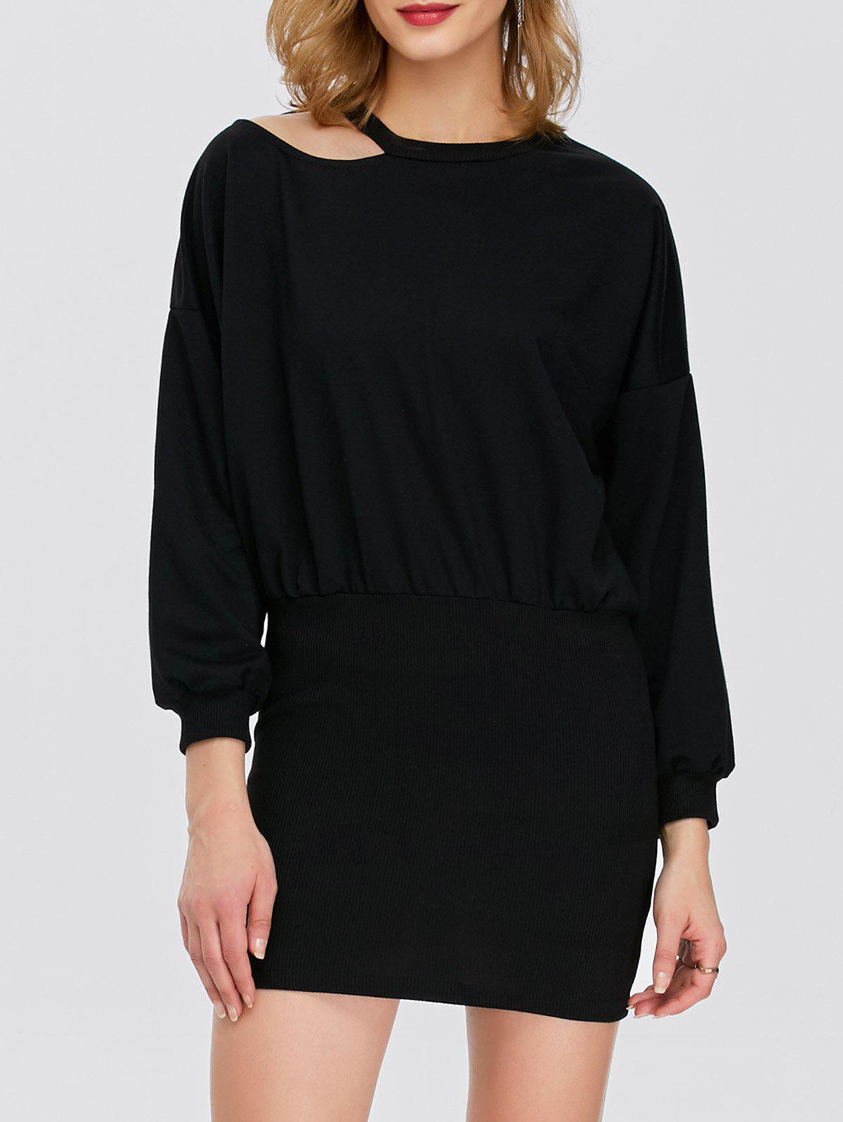 Hollow Out Puff Sleeves Bodycon Dress - BLACK ONE SIZE