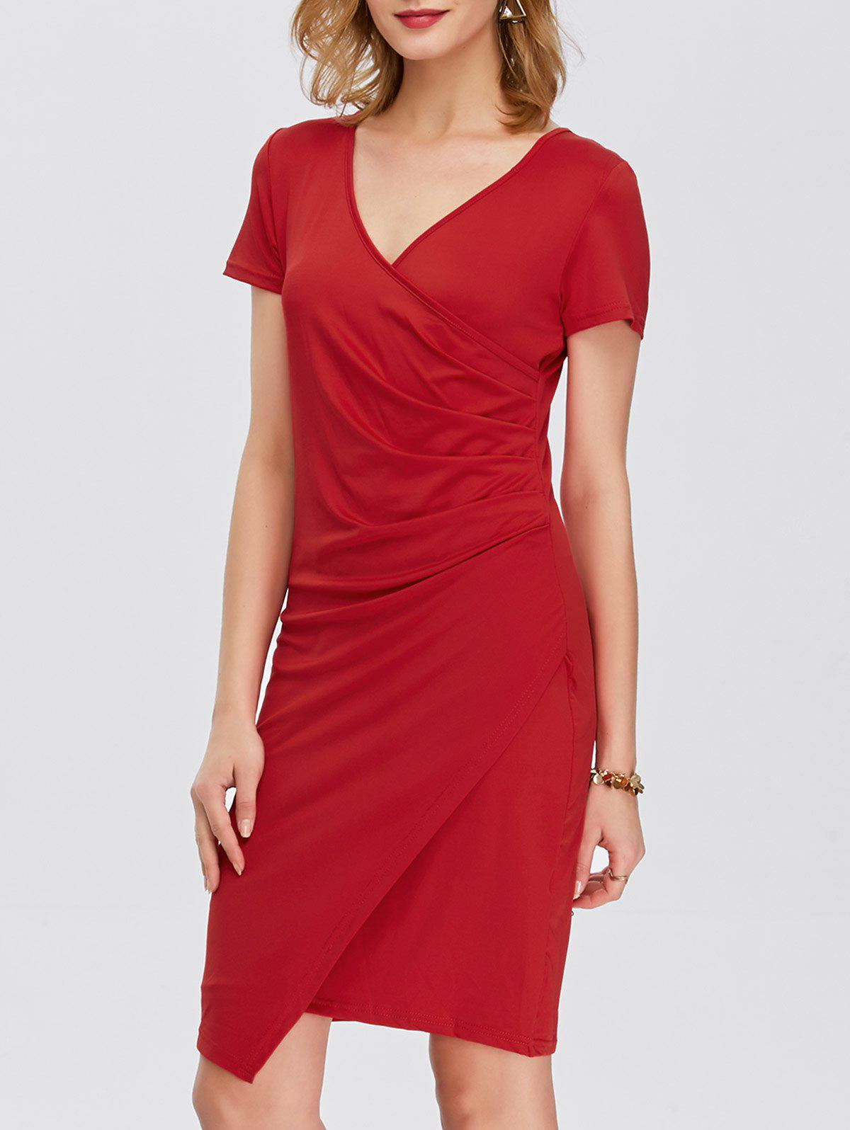 Drape Asymmetrical V Neck Dress With Short Sleeves - RED M