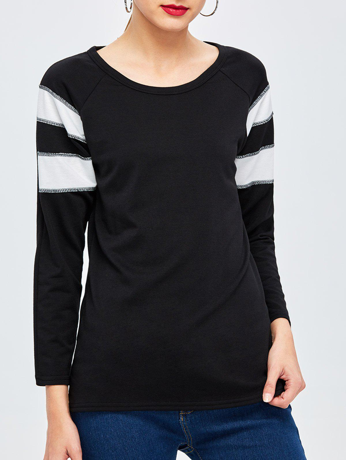 Long Sleeve Panel Basic Tee - BLACK M