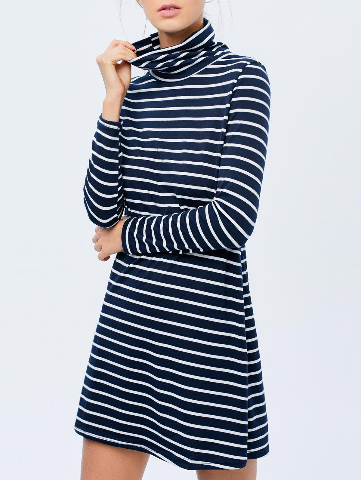 Stripe Long Sleeve A Line Mini Dress - DEEP BLUE XL
