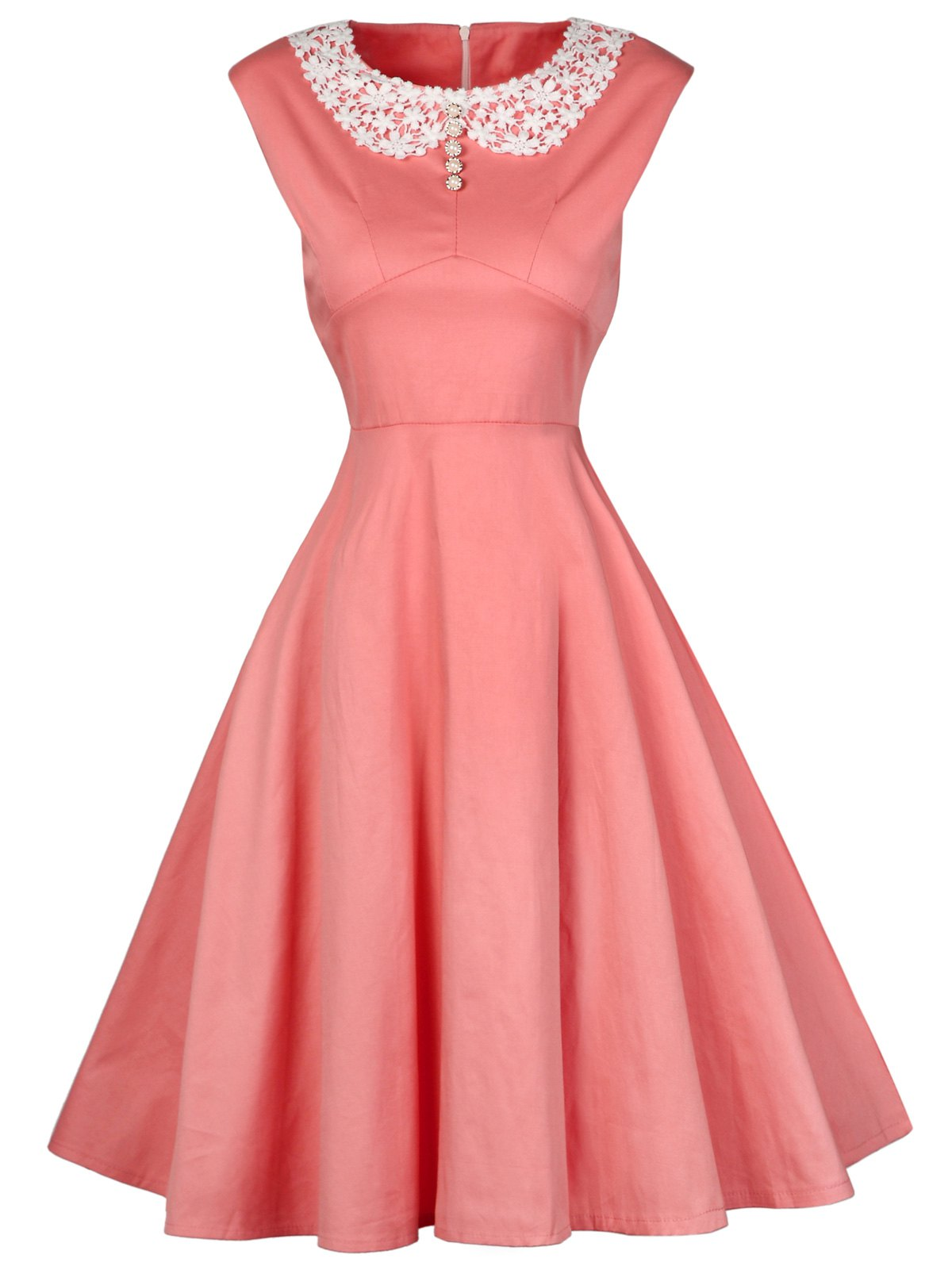 Vintage High Waist Lace Insert Party Dress - PINK S