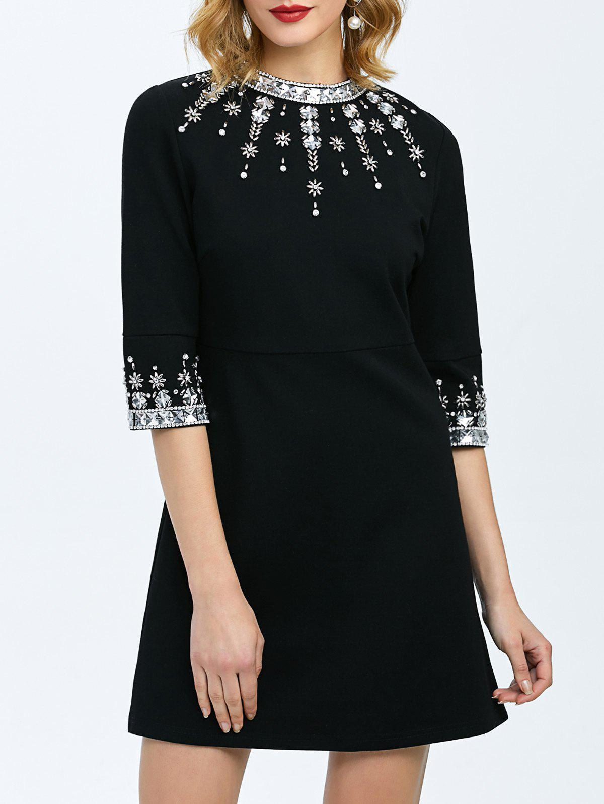 Beaded Fit and Flare Dress - BLACK XL
