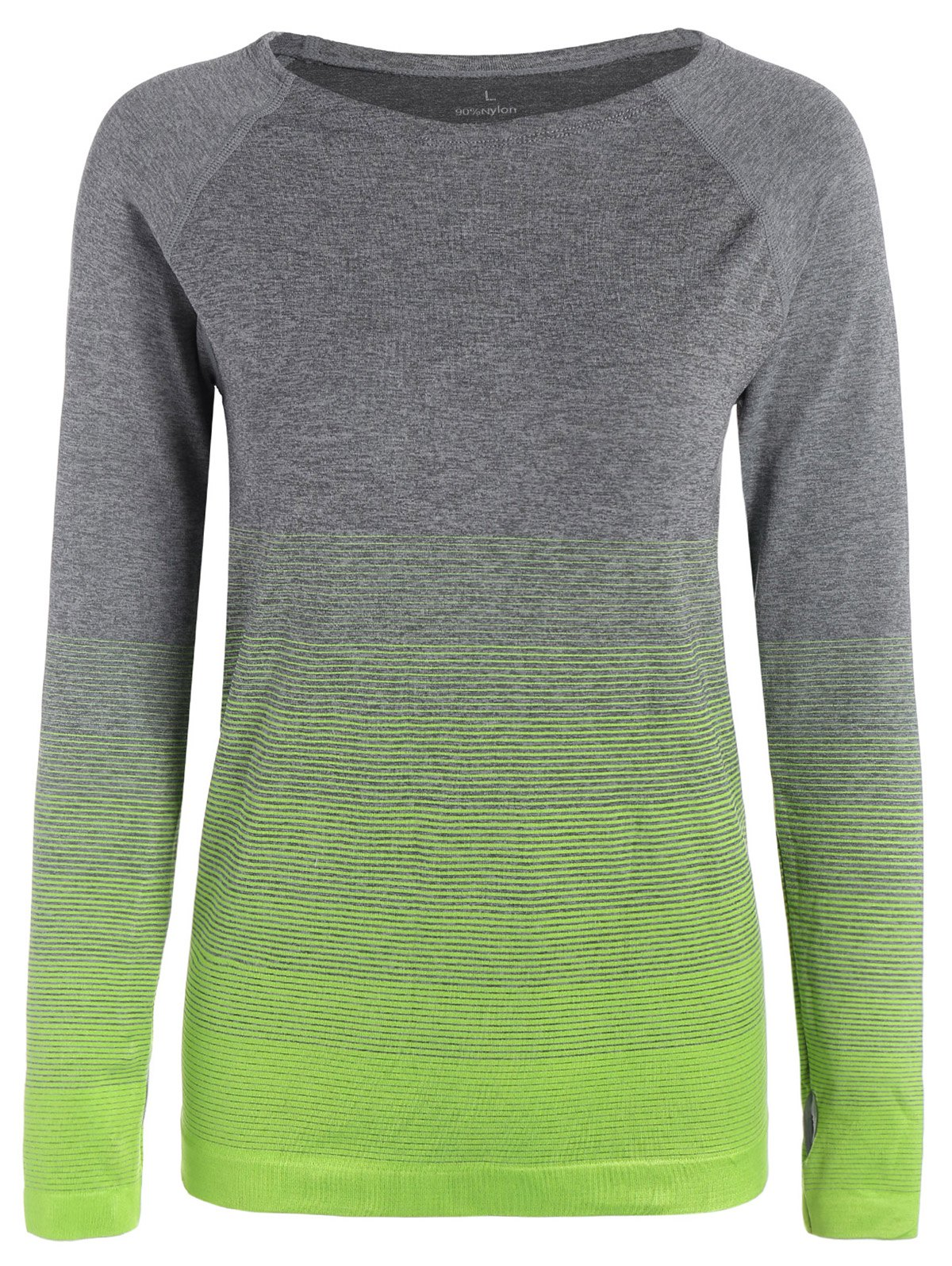 Ombre Long Sleeve Running Gym Top With Thumb Hole - NEON GREEN M