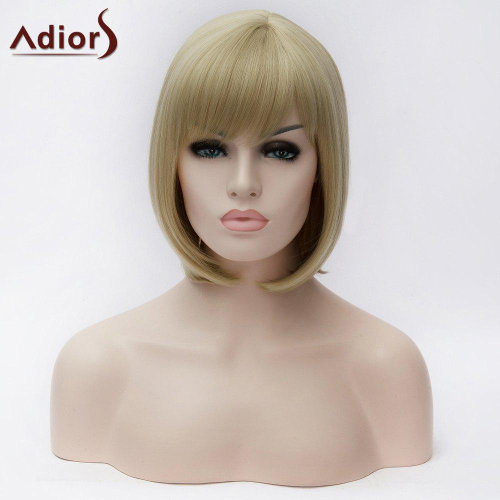 Adiors Side Bang Short Glossy Straight Synthetic WigHair<br><br><br>Color: LIGHT BEIGE