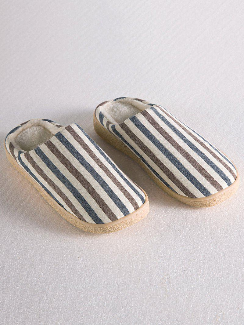 Stripe Flocking House Slippers - LIGHT COFFEE SIZE(42-43)