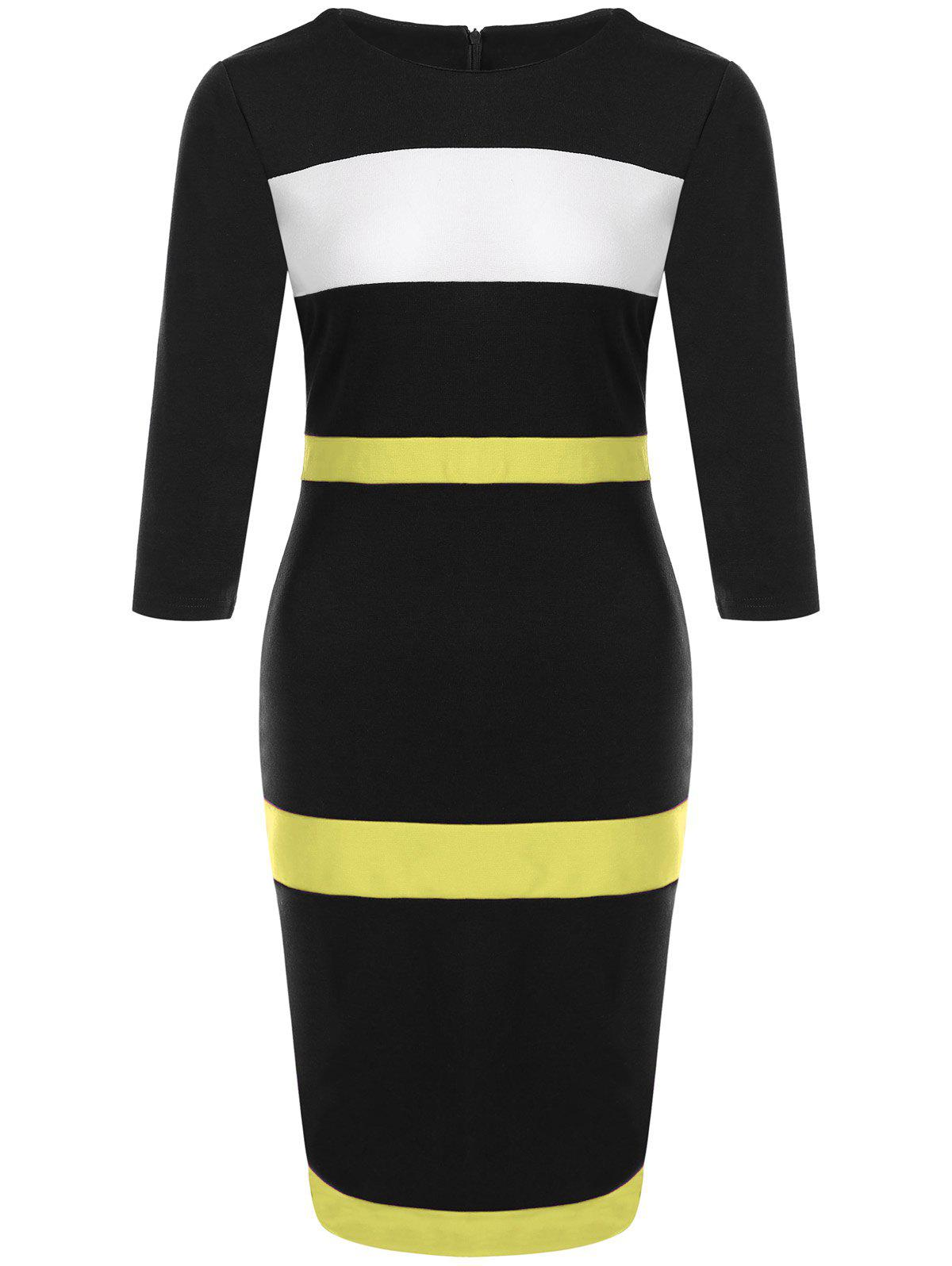 Robe moulante en couleur jointive - Jaune XL