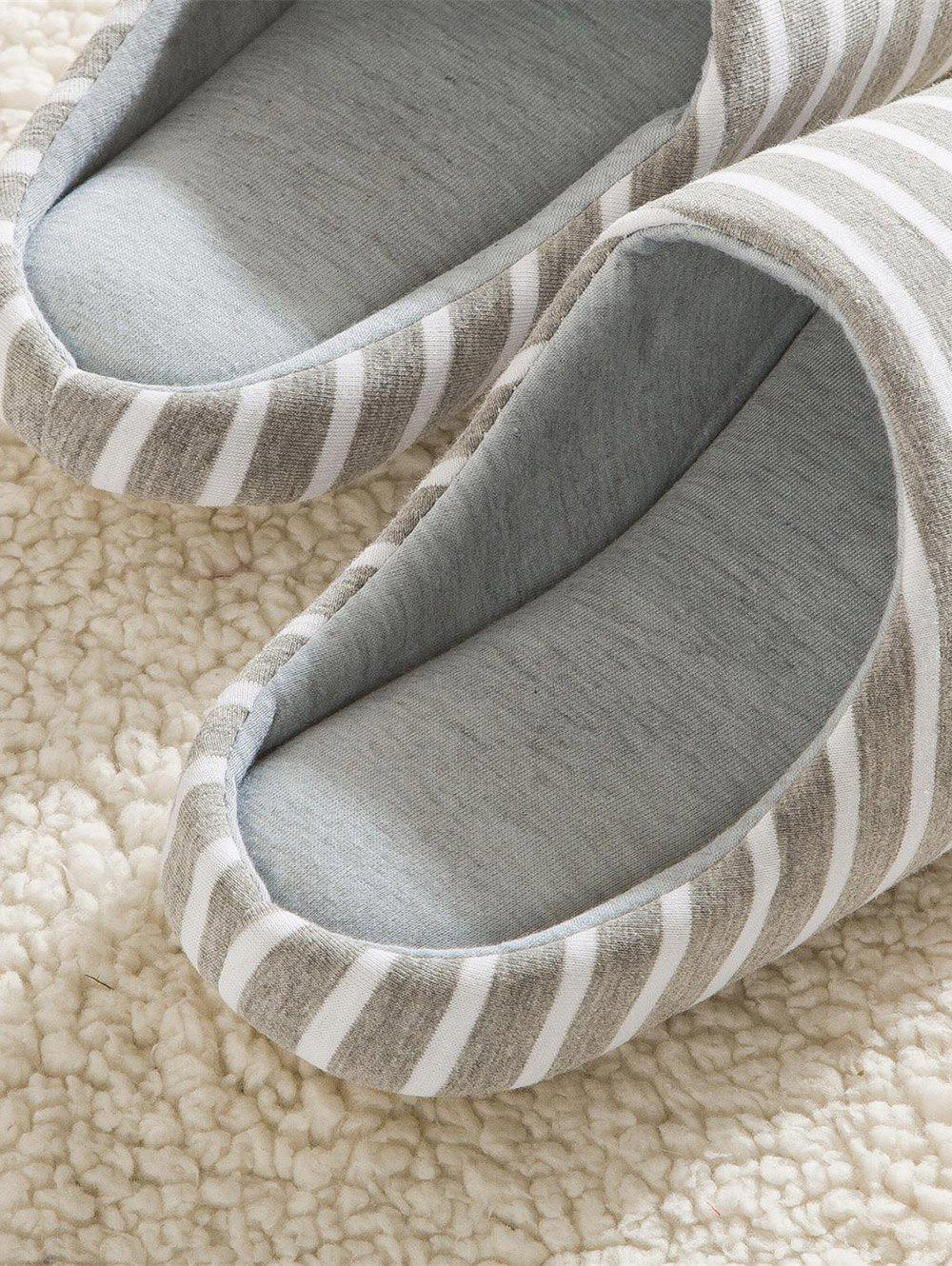 Striped Colour Block House Slippers - GRAY 43