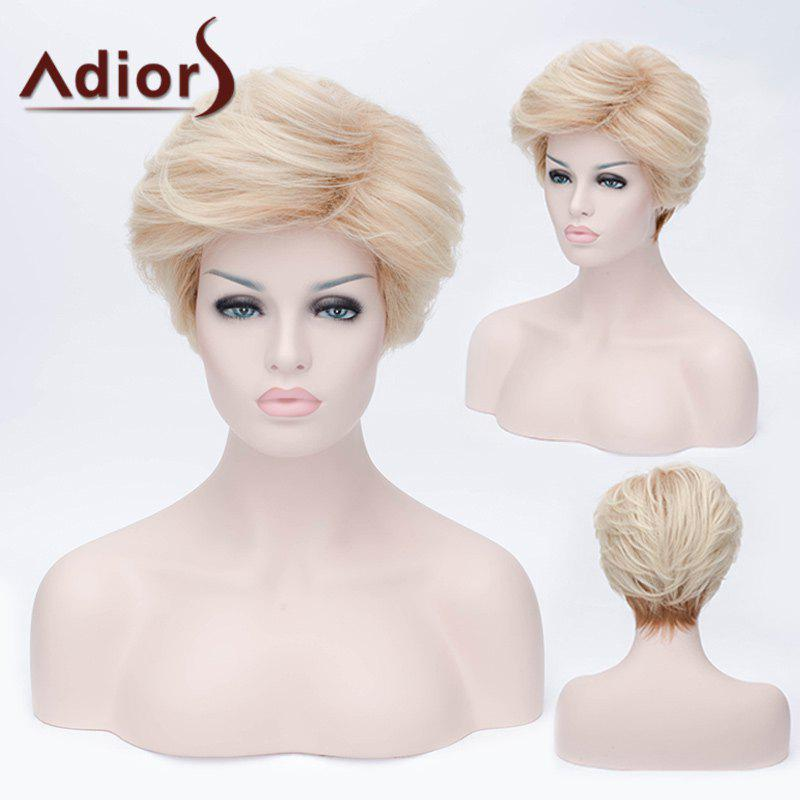 Adiors Shaggy Layered Short Straight Side Bang Synthetic Wig - LIGHT GOLD