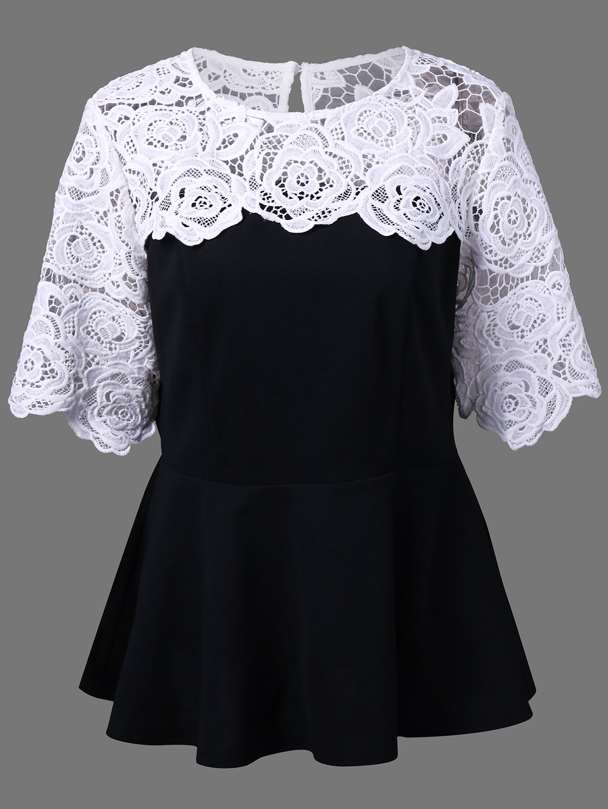 Plus Size Lace Insert Peplum Top - WHITE/BLACK 2XL