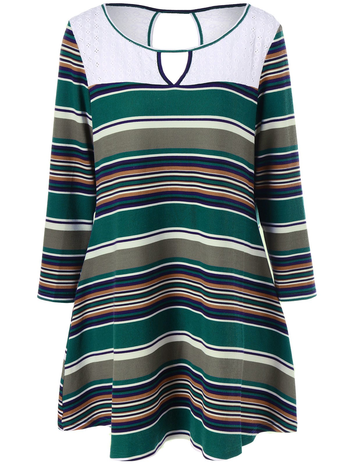 Plus Size Keyhole Striped Longline T-Shirt - COLORMIX 5XL
