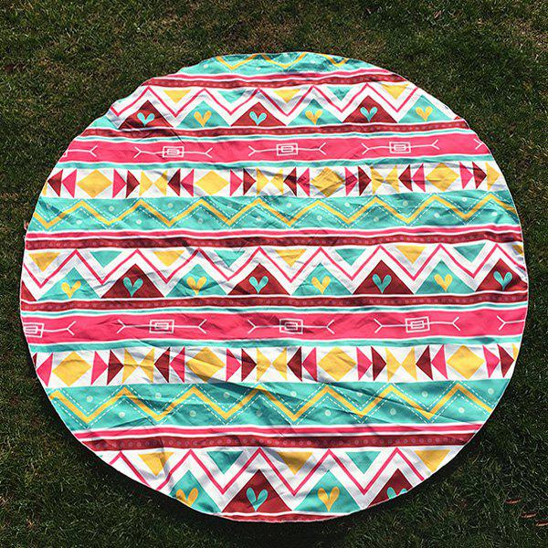 Chevron and Heart Print Round Beach Throw - LIGHT GREEN ONE SIZE