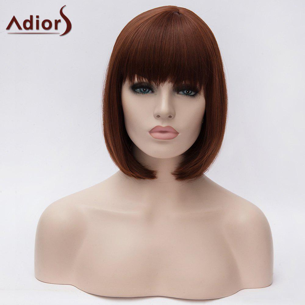 Adiors Short Silky Straight Full Bang Bob Synthetic WigHair<br><br><br>Color: RED BROWN 350/35#