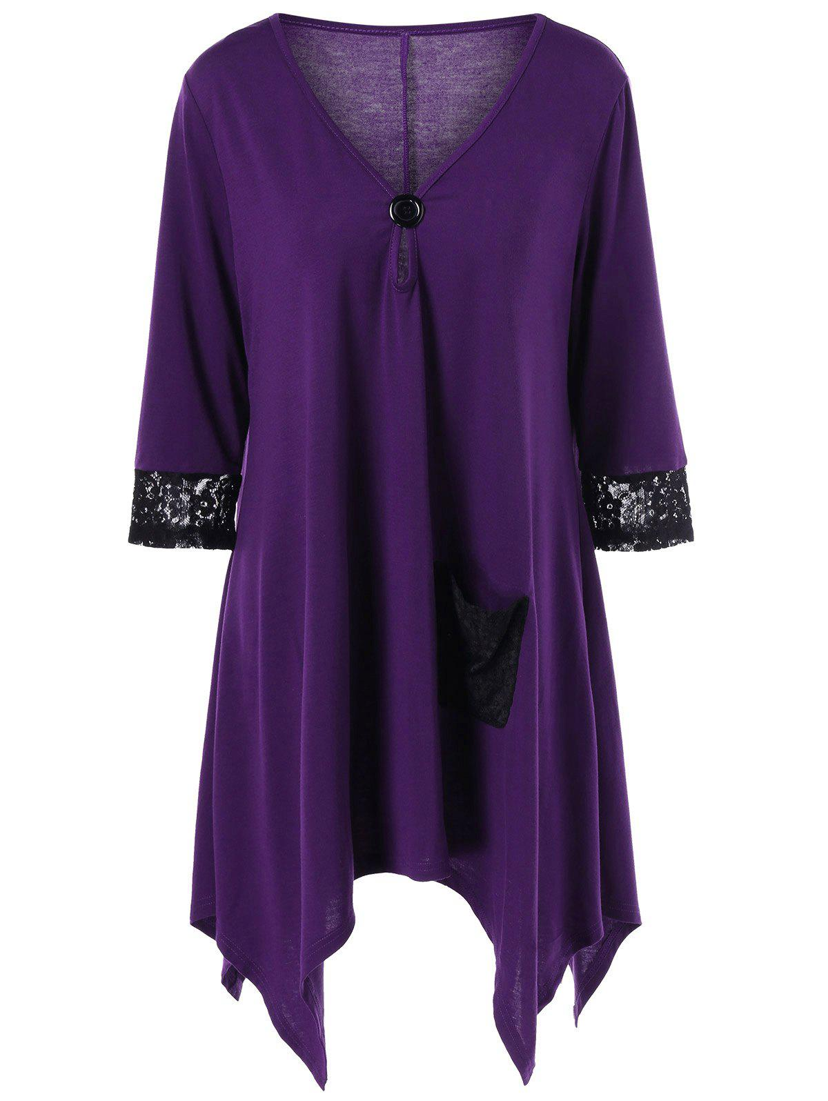 Plus Size Lace Insert Asymmetric V Neck T-Shirt - PURPLE XL