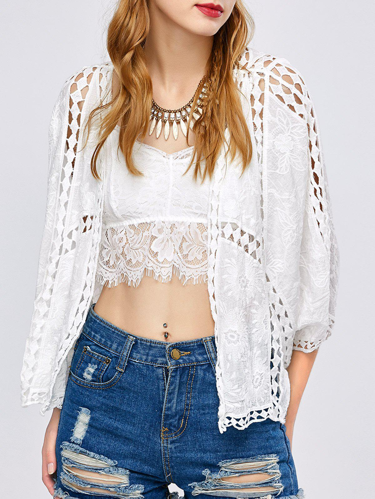 Buy Batwing Sleeve Crochet Hollow Cover-Up WHITE