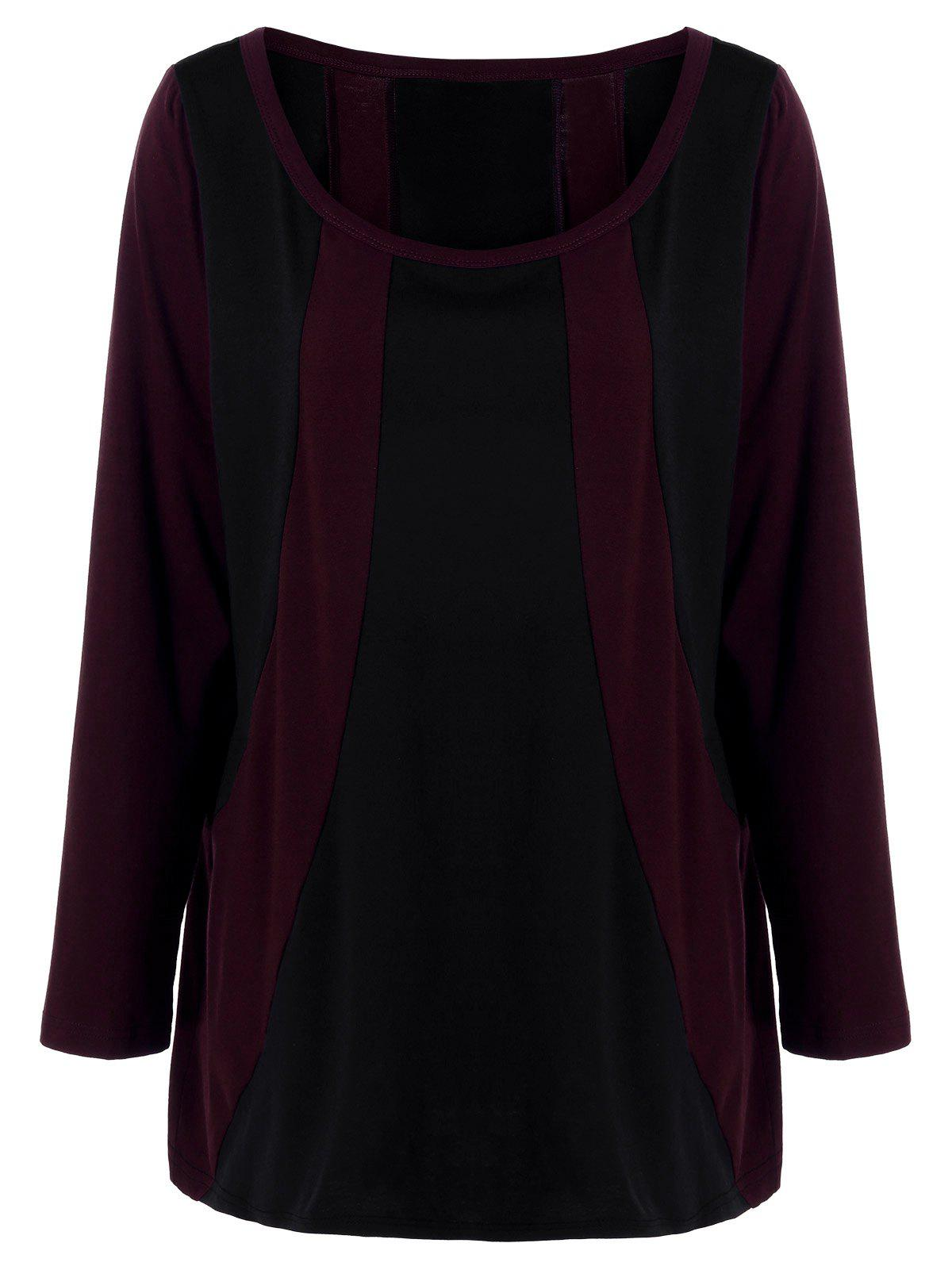 Buy Plus Size Convertible Collar Two Tone T-Shirt RED/BLACK
