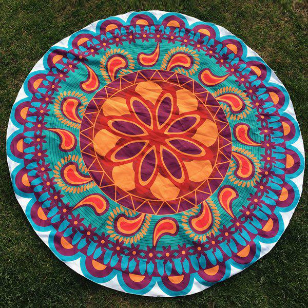 Ethnic Paisley Flower Print Round Beach Throw - COLORMIX ONE SIZE