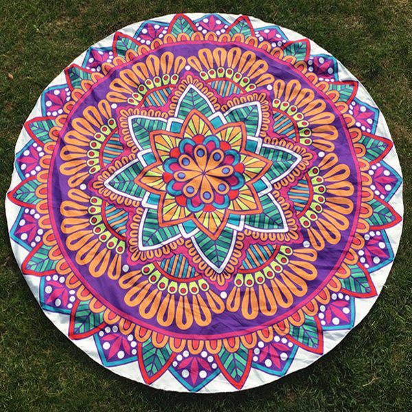Leaf Flower Print Round Beach Throw - PURPLE ONE SIZE