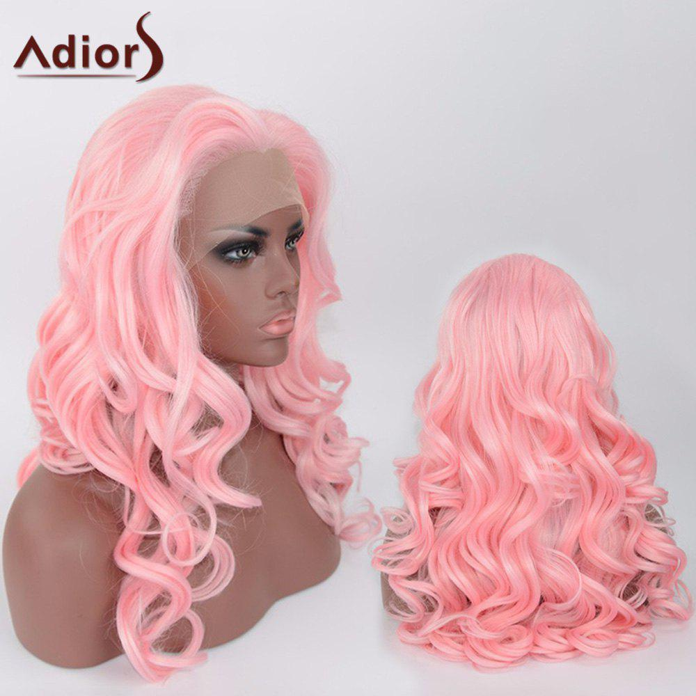 Adiors Long Body Wave Synthetic Side Parting Lace Front Wig - SHALLOW PINK