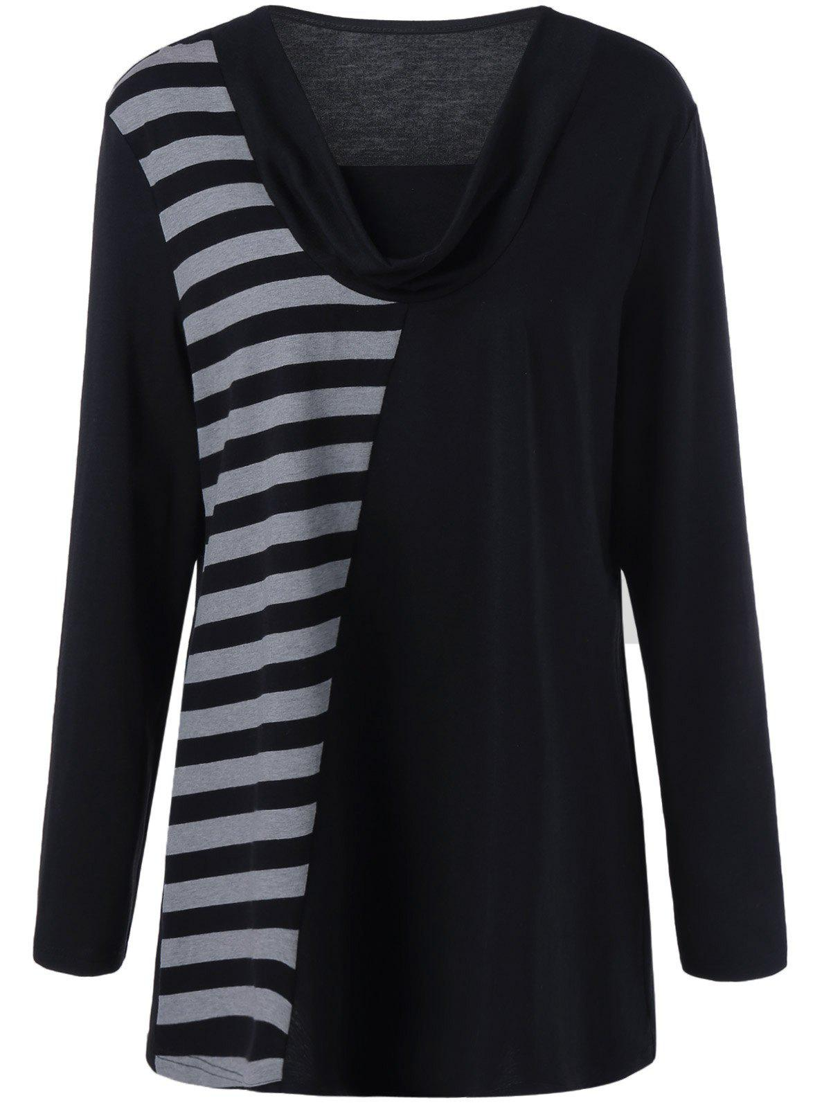 Plus Size Cowl Neck Striped Trim Tee - BLACK/GREY XL