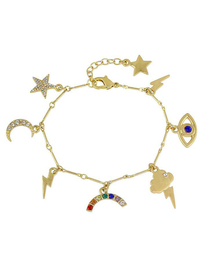 Rhinestone Moon Star Lightning Eye Charm Bracelet все цены