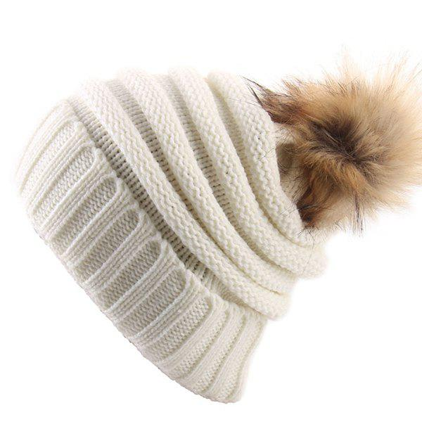 Stripy Knit Pom Hat - WHITE