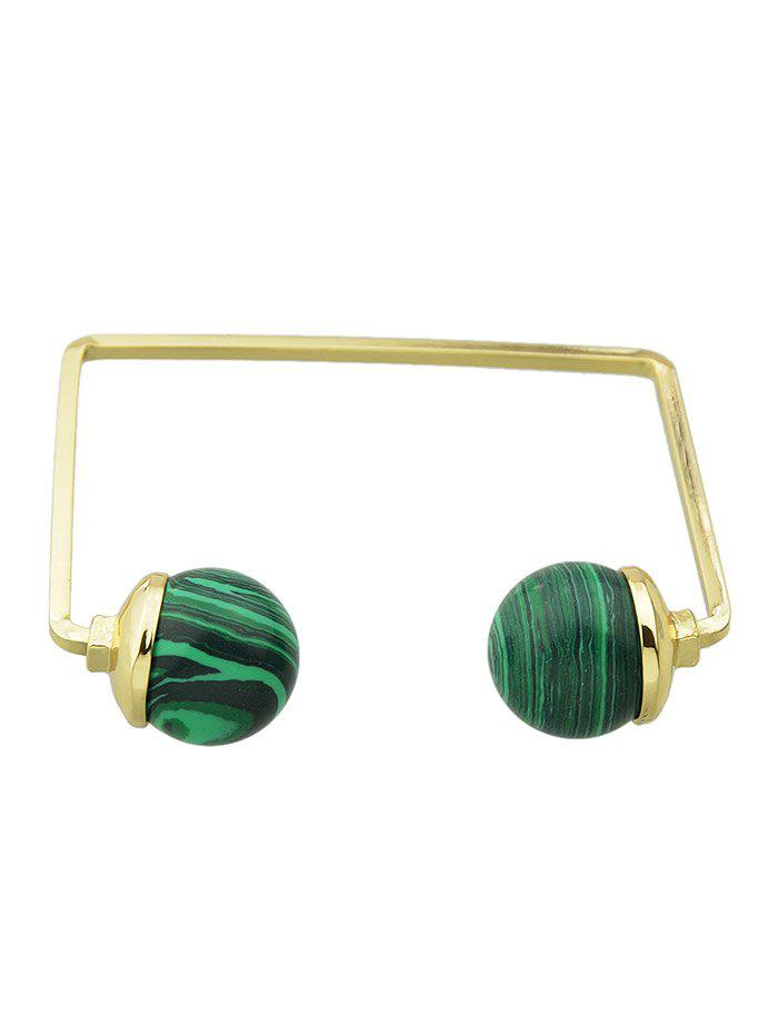 Faux Gem Ball Cuff Bracelet - GREEN