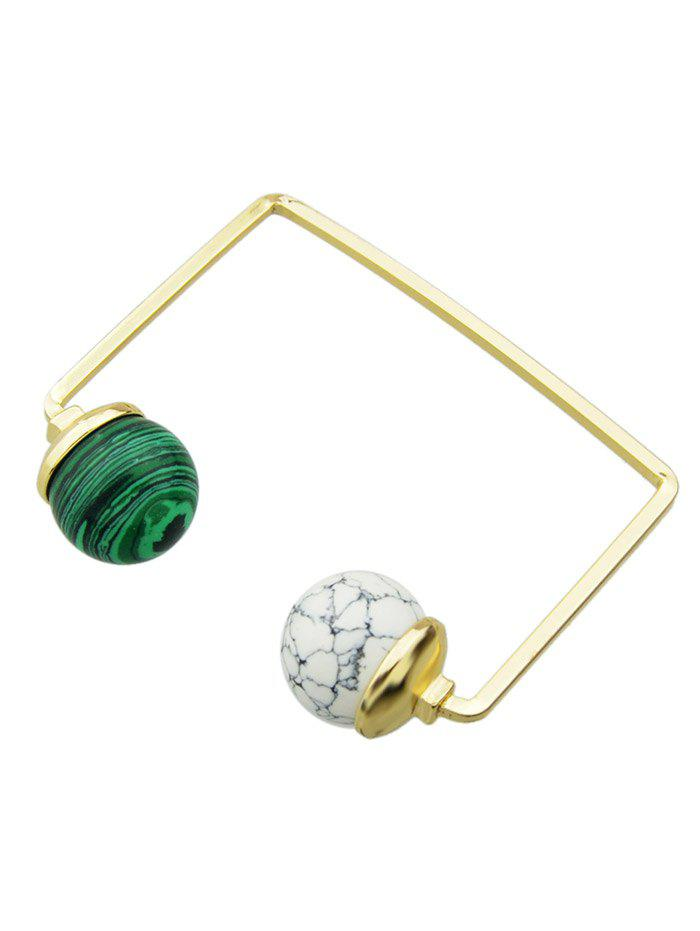 Faux Gem Ball Cuff Bracelet - WHITE/GREEN