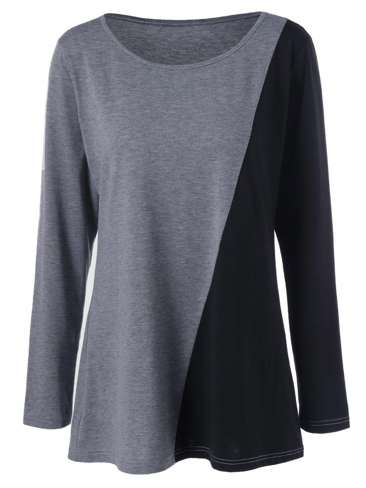 Plus Size Longline Two Tone Tee - BLACK/GREY XL