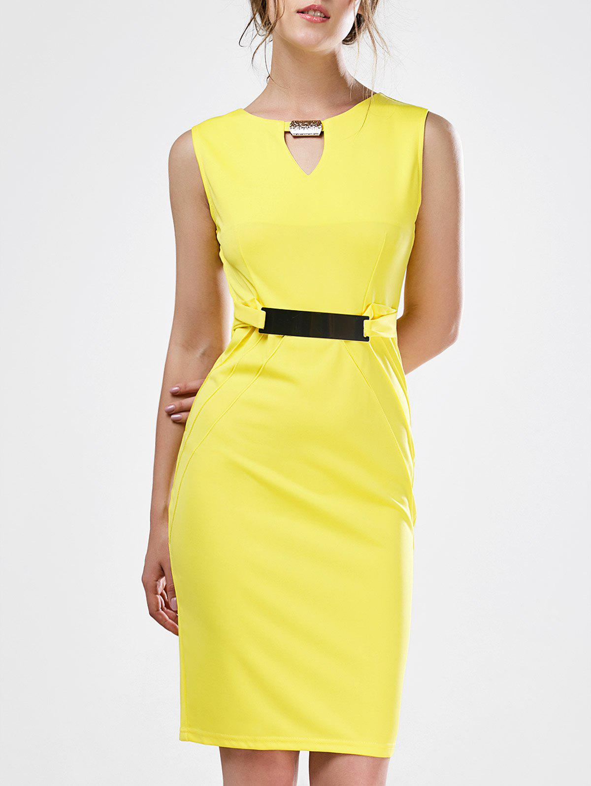 Keyhole Sleeveless Mini Sheath Work Dress - YELLOW S