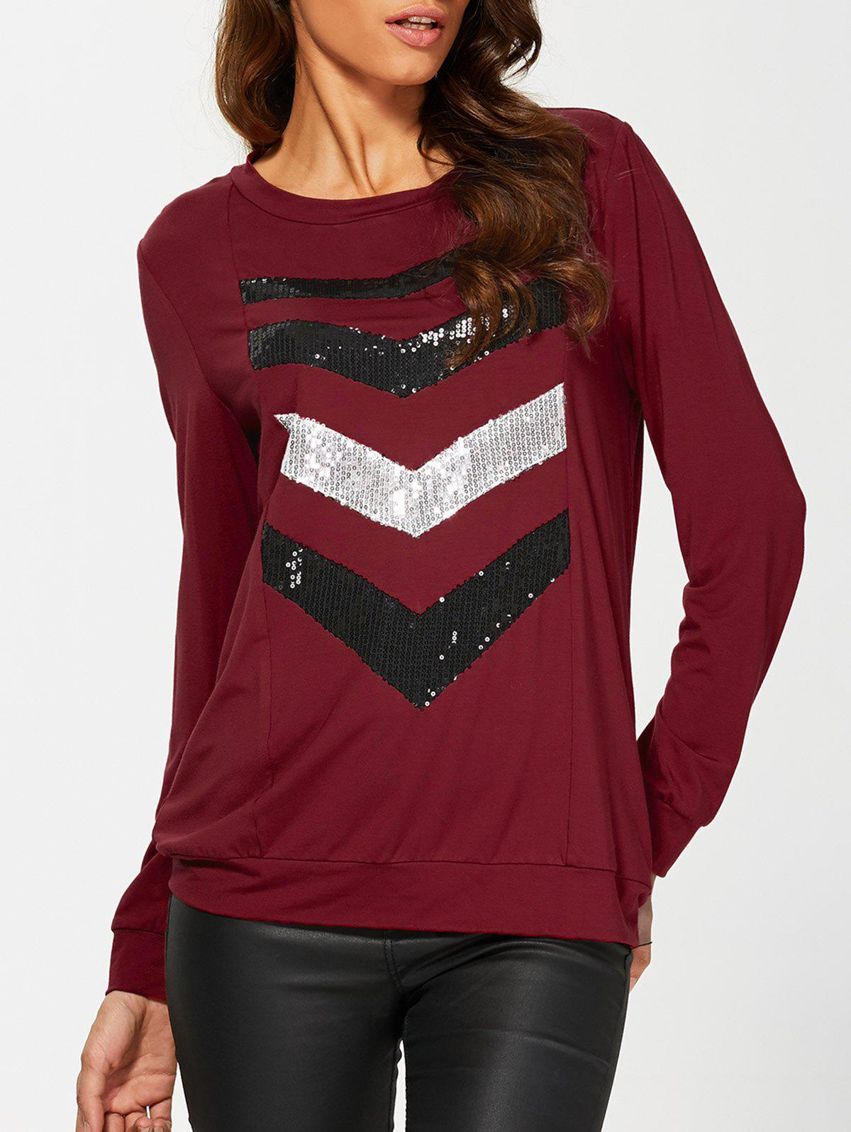 Sequined Insert SweatshirtWomen<br><br><br>Size: L<br>Color: BLACK AND WHITE AND RED