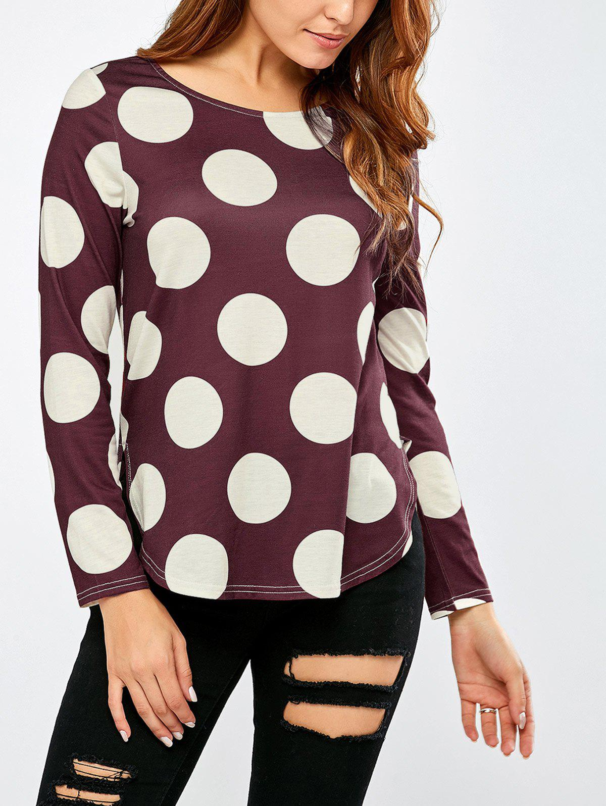 Polka Dot High Low Hem T-Shirt - COLORMIX XL